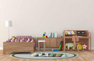 kid room Interior 3d rendering image