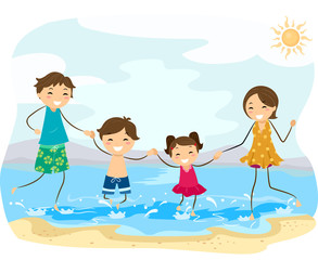 Stickman Family Beach Jump