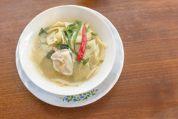 baby bamboo and pork mixed vegetable Shoot Soup the traditional delicious Northeastern Style Thai food.