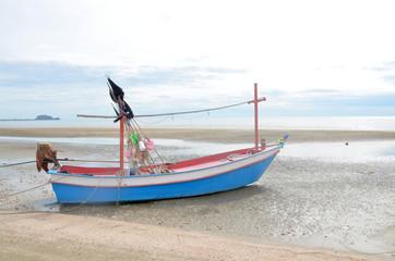 boat at the beach at sunrise in pranburi, Prachuap Khiri Khan, thailand