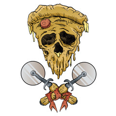 skull pizza slice.vector illustration.