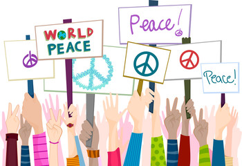 Hand Placards Peace Rally