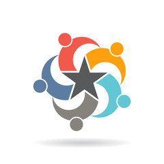 People Social Network Star logo. Vector graphic design
