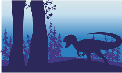 Silhouette of one allosaurus in forest