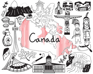 Travel to Canada doodle drawing icon with culture, costume, landmark and cuisine tourism concept in isolated background, create by vector
