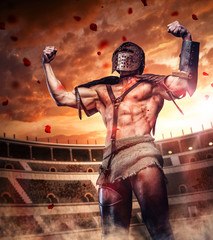 Blody gladiator after fight on colosseum arena.
