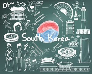 """Travel to South Korean doodle drawing icon with culture, costume, landmark and cuisine tourism concept in blackboard background. The Korean text in the picture means """"Ohh"""" or """"Ahh""""."""