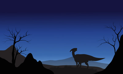 Silhouette of one Parasaurolophus