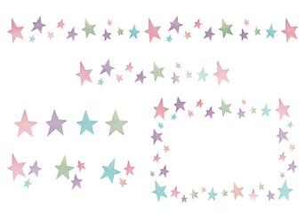 水彩風 星のアイコン・ライン・フレーム セット素材 白背景