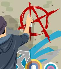Teen Guy Anarchy Symbol Graffiti