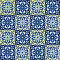 Hand drawing seamless pattern for tile in blue and yellow colors.