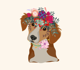 Drawing pen dog face, macaque portrait with beautiful flowers on the head, floral wreath.