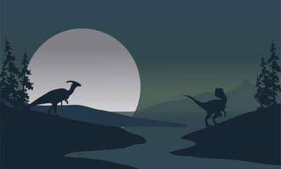 Silhouette of Dilophosaurus and Parasaurolophus