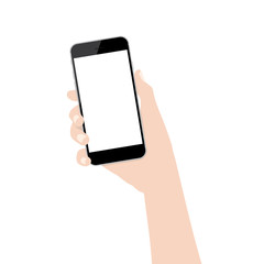 hand holding phone isolated on white background vector design