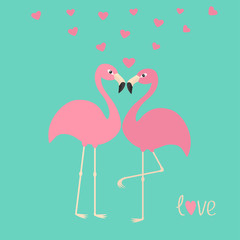 Pink flamingo couple and hearts. Exotic tropical bird. Zoo animal collection. Cute cartoon character. Love greeting card. Decoration element. Flat design. Blue background. Isolated.