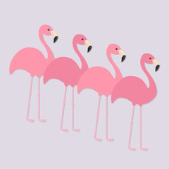 Four pink flamingo set. Exotic tropical bird. Zoo animal collection. Cute cartoon character. Decoration element. Flat design. Light purple background. Isolated.