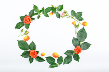 Wreath frame with roses and rose petals