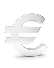 Isolated silver euro sign on white background. European currency. Concept of investment, european market, savings. Power, luxury and wealth. 3D rendering.