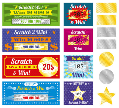 Prize and luck lottery tickets. Lottery tickets with scratch effect on marks. Prize and luck, chance and win templates.  Vector illustration