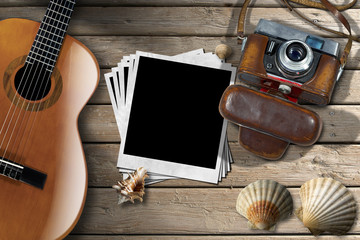 Guitar - Instant Photos - Camera and Seashells