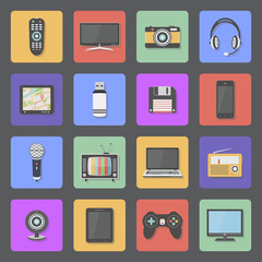 Home electronics icons set. Multimedia and technology devices. Vector illustration.