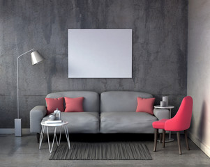 mock up blank poster on the wall in living room, 3D render interior