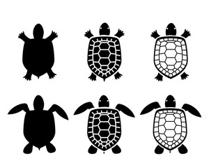Set of turtle and tortoise icons,top view