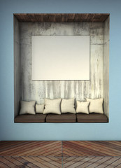 mock up poster in interior background. 3D rendering illustration.