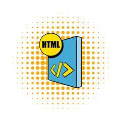HTML file icon in comics style