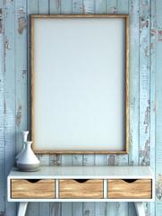 mock up poster frame in rustic interior background. 3D rendering illustration.