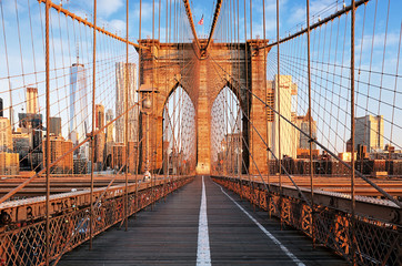 Photo sur Aluminium Pont Brooklyn Bridge at sunrise, New York City , Manhattan