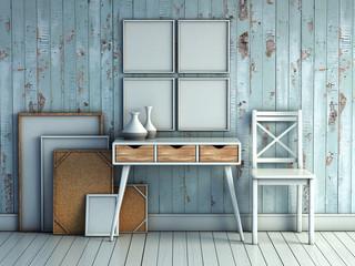 mock up poster frame in rustic interior background, picture frame composition concept. 3D rendering illustration.