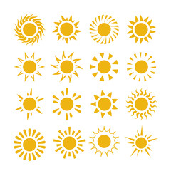 Yellow summer sun vector symbols. Sun set summer, sunburst and ray energy from sun star group illustration