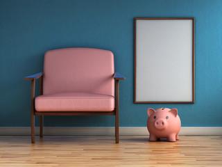 Mock up frame, with piggy bank. Saving concept. Retro contemporary design, 3d render interior