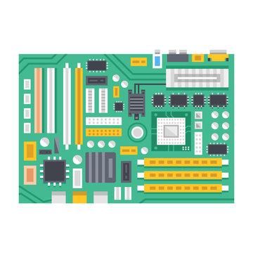 Vector motherboard illustration. Computer main printed circuit board. Flat design