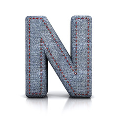 N letter, from Font of denim (jeans) fabric. 3d illustration isolated on white.
