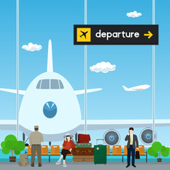 Airport , a Waiting Room with People, View on Airplane through the Window from a Waiting Room , Scoreboard Departures from Airport, Travel Concept, Flat Design, Vector Illustration