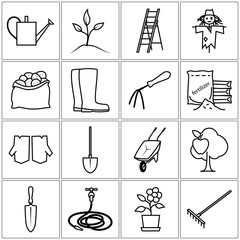 Set of Garden Tools, Line Icons Gardening Equipment , Agricultural Tool , Black and White Vector Illustration