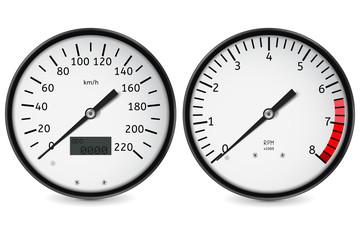Speedometer, tachometer. Realistic gauges