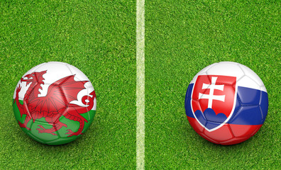 Team balls for Wales vs Slovakia football tournament match, 3D rendering