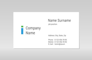 Business card shablon for your design. Vector visit card template.