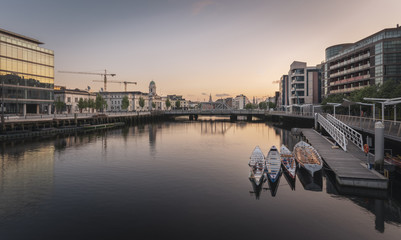 A View of the Riiver Lee with Cork City hall in the background. Cork city, Ireland.