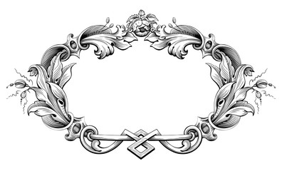 Vintage Baroque Victorian frame border monogram floral engraved scroll ornament leaf retro flower pattern decorative design tattoo black and white filigree calligraphic vector heraldic shield swirl