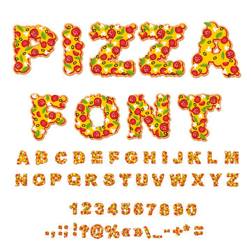 Pizza font. Letters dough. Food Alphabet. Fast food ABC. Italian