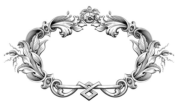 Vintage Baroque Victorian frame border monogram floral engraved scroll ornament leaf retro flower pattern decorative design tattoo black and white filigree calligraphic vector heraldic shield swirl