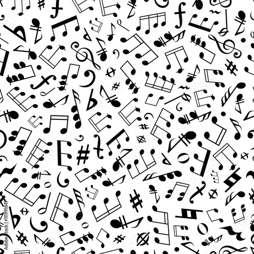 Seamless Music Notes And Marks Background Pattern Stock Image And