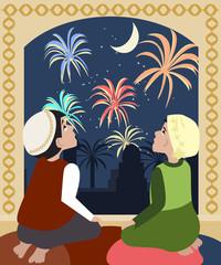 kids watching fireworks at ramadan