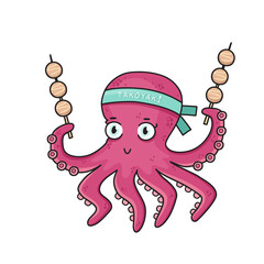 """Cartoon octopus with Japanese food """"Takoyaki"""". Octopus with a bandage on his head with an inscription """"Takoyaki"""""""" on a white background"""