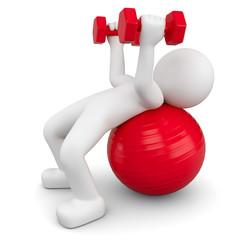 3d Männchen beim Fitness, macht Gymnastik auf dem Gymnastikball und Hanteltraining.