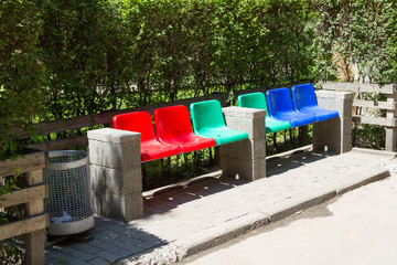 colored bench in the park